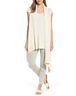 Cotton Blend Knit Asymmetrical Wrap