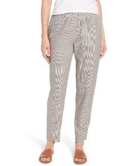 Stripe Hemp & Organic Cotton Tapered Ankle Pants