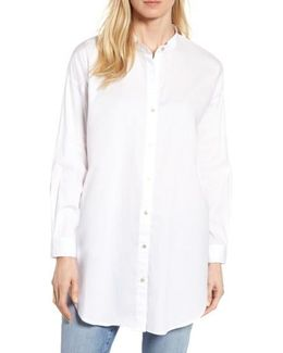 Stretch Organic Cotton Mandarin Collar Tunic
