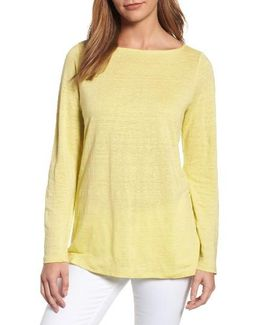 Organic Linen Bateau Neck Sweater