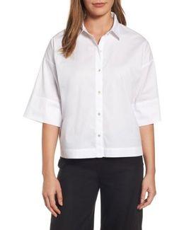 Boxy Stretch Organic Cotton Shirt
