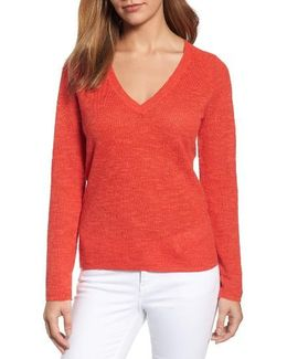 V-neck Organic Linen & Cotton Sweater