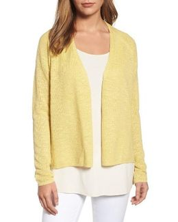 V-neck Organic Linen & Cotton Cardigan