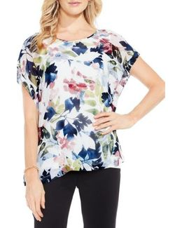 Garden Expressions Cap Sleeve Crepe Blouse