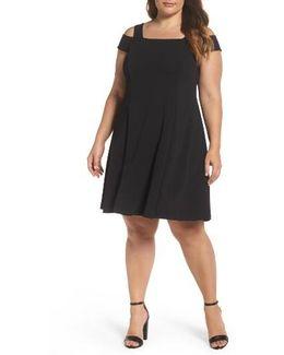 Scuba Crepe Cold Shoulder Dress