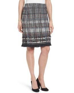 Checked Fringe Skirt
