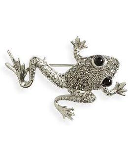 Crystal Pave Frog Brooch