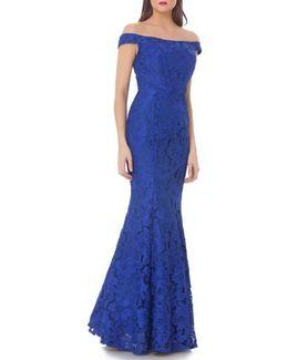 Lace Off-the-shoulder Trumpet Gown