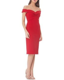 Off-the-shoulder Midi Sheath Dress