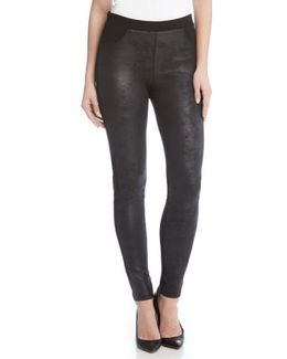 Faux Leather Front Skinny Pants