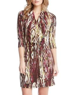 Print Jersey Cascade Faux Wrap Dress