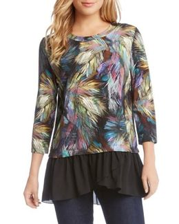 Contrast Hem Palm Print Top