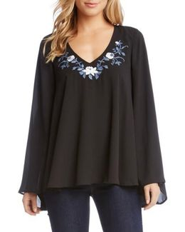 Embroidered V-neck Crepe Swing Top