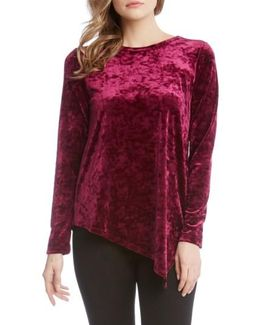 Asymmetrical Hem Velvet Top