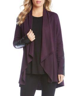 Faux Leather Patch Fleece Knit Jacket