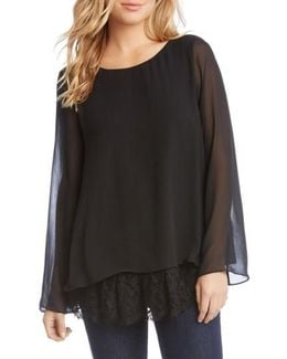 Lace Hem Tank With Sheer Overlay