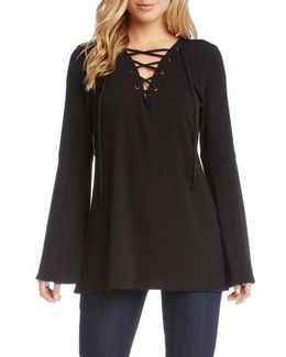 Bell Sleeve Lace-up Top
