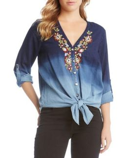 Kane Kane Embroidered Ombre Top