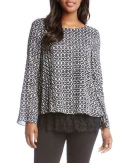 Lace Inset Print Top