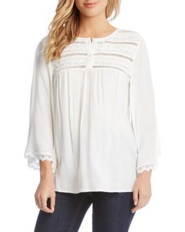 Lace Trim Flare Sleeve Top