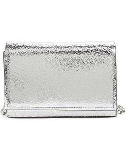Yasmeen Small Metallic Leather Clutch - Metallic