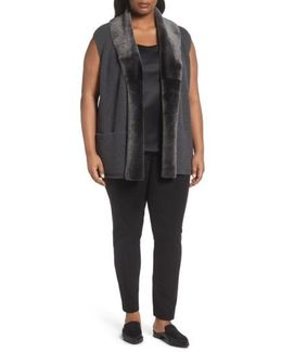 Merino Blend Vest With Genuine Shearling Trim