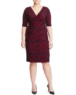 Faux Wrap Print Sheath Dress