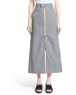 Zip Front Stripe Skirt