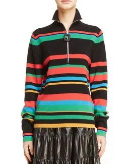 Stripe Half Zip Merino Wool Sweater