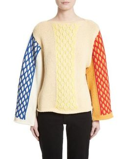 Multicolor Cable Knit Sweater
