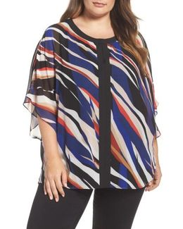 Graphic Zebra Flutter Top
