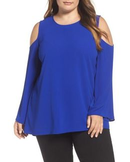 Bell Sleeve Cold Shoulder Blouse