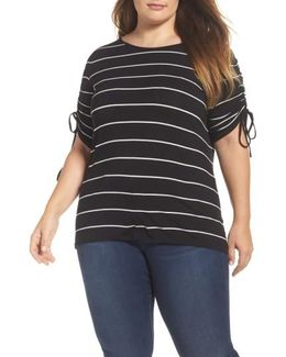 Drawstring Sleeve Stripe Top