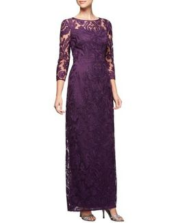 Embroidered Illusion Column Gown