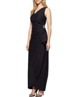 Embellished Side Drape Column Gown