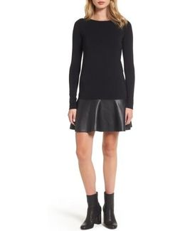 Georgina Faux Leather & Jersey Dress