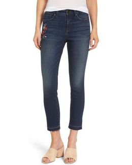 Alina Embroidered Stretch Skinny Ankle Jeans