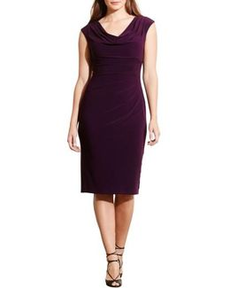 Plus Size Cowl-neck Jersey Dress