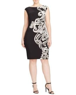 Placed Print Jersey Sheath Dress
