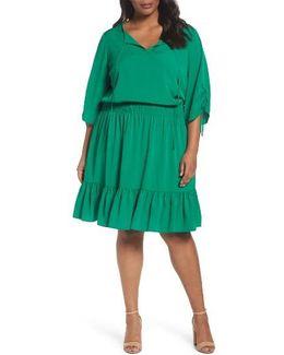 Ruched Sleeve Blouson Dress