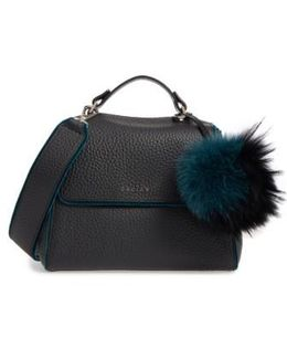 Small Sveva Soft Leather Top Handle Satchel With Genuine Fur Bag Charm