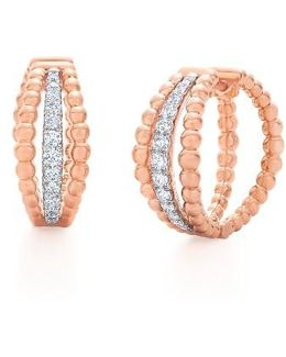 Beaded Multirow Diamond Hoop Earrings