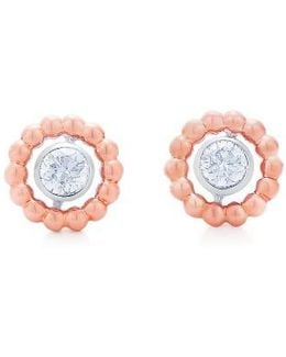 Beaded Diamond Stud Earrings