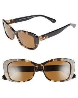 Claretta 53mm Polarized Sunglasses - Havana/ Black