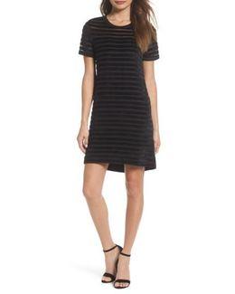Velvet Stripe Shift Dress