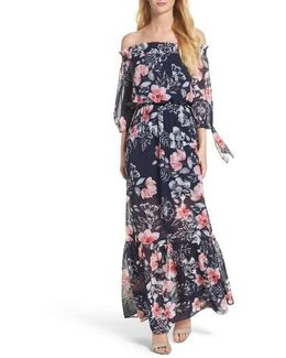 Off The Shoulder Chiffon Maxi Dress
