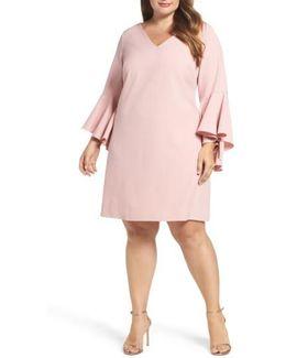 Bell Sleeve Crepe Shift Dress