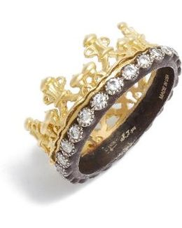 Old World Diamond Crown Ring