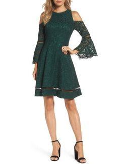 Bell Sleeve Cold Shoulder Fit & Flare Dress