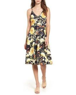 Floral Print Cutout Midi Dress